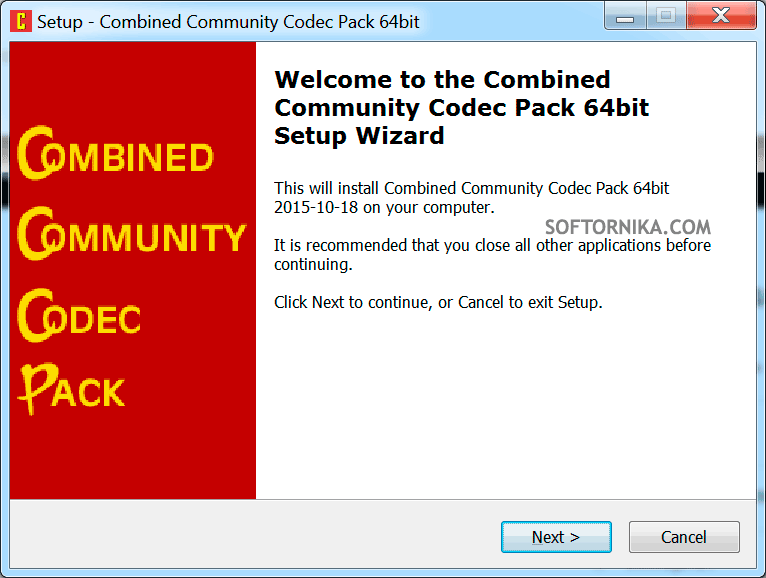 Фото: первый шаг по установке Combined Community Codec Pack